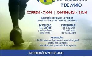 Corrida e Caminhada do Trabalhador acontece na segunda-feira em BONITO; faça sua inscrição