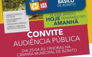 Audiência debate Plano Municipal de Saneamento Básico nesta quarta-feira em Bonito (MS)