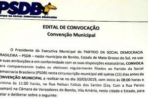 PSDB convoca filiados para votação e escolha de nova diretoria e outros em Bonito (MS)