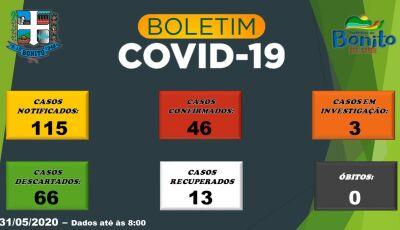 Junho começa com 46 casos confirmados de Covid-19 em Bonito