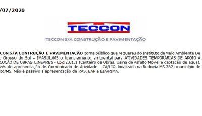 TECCON S/A CONTRUÇÃO E PAVIMENTAÇÃO torna público documento