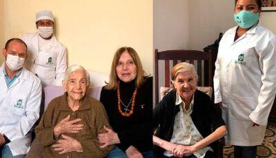 """Irmãs de 96 e 100 anos se curam juntas da Covid-19 em MS: """"enquanto há vida, há esperança!"""""""