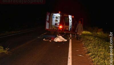 Batida entre moto e carreta deixa uma mulher morta, em Maracaju