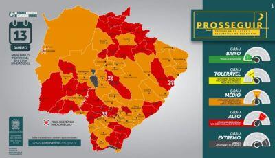 BONITO e mais 33 cidades de MS aparecem na bandeira vermelha do 1º Prosseguir de 2021