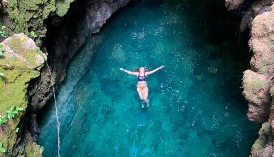 Você já tinha visto uma cachoeira dentro de uma cratera antes?, fica pertinho de Bonito (MS)