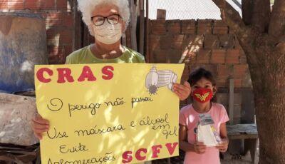 SAS faz distribuição de máscaras de proteção e álcool em gel para famílias do SCFV em Bonito
