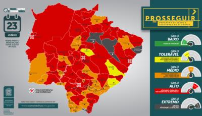 Com 04 municípios na bandeira cinza e 47 na vermelha, veja nova classificação do Prosseguir em MS