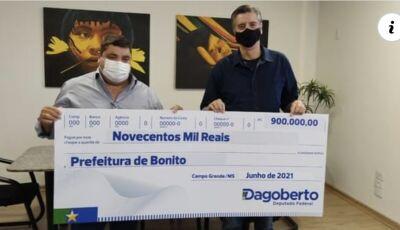 Bonito recebe R$ 900 mil reais de emendas de Dagoberto Nogueira para obras de infraestrutura