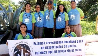 Defesa Civil distribui donativos em Águas do Miranda em Bonito (MS)