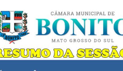 Câmara aprova 07 Indicação e 01 Requerimento durante sessão ordinária em Bonito (MS)