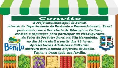 Prefeitura reinaugura a Feira do Produtor Rural na Vila Marambaia dia 28 em Bonito (MS)