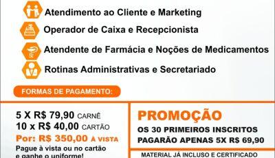 Inscrições abertas ao curso profissionalizante 'Noções Práticas de Vendas e Administração' em Bonito