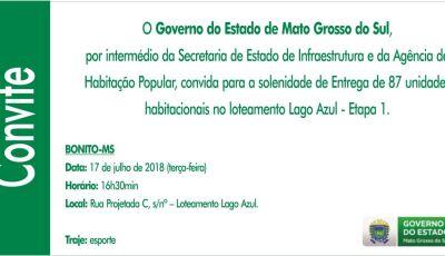Governo do Estado entregará 87 casas do loteamento Lago Azul nesta terça em Bonito (MS)