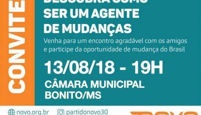 Partido Novo convoca filiados e simpatizantes para reunião hoje na Câmara Municipal em Bonito (MS)