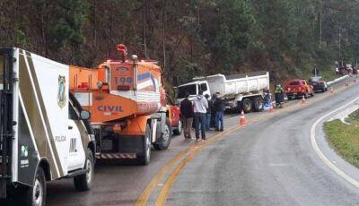 Após colisão caminhão passa por cima de veículo e deixa três mortos