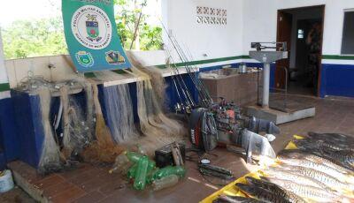 PMA prende e autua em R$ 17 mil oito turistas paulistas pescando com redes e tarrafas no Rio Miranda