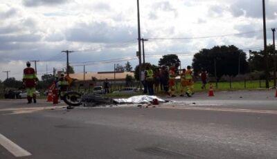 Caminhão atropela moto e vítima morre carbonizada na BR-163 em Campo Grande