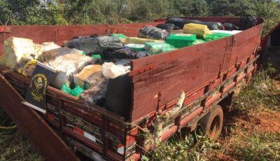 Traficantes abandonam camionete com quase 4 toneladas de maconha na MS-180