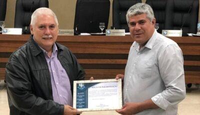 Dr. Laércio Miranda é homenageado pelo vereador Pantera na Câmara Municipal em Bonito (MS)