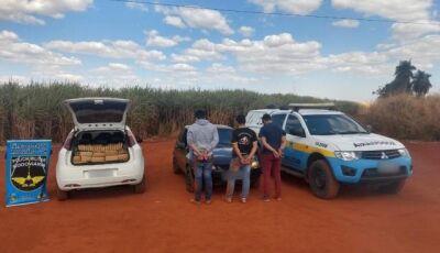 Trio é preso com quase meia tonelada de maconha em carro roubado