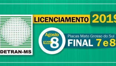 Detran-MS alerta: Agosto é mês de pagar licenciamento de placas com final 7 e 8