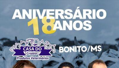 Hoje tem Show de aniversário de 18 anos da Casa do Criador no Sindicato Rural em Bonito (MS)