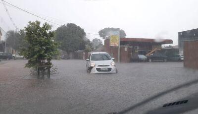 Chuva de 17 mm e ventos de até 43 km/h deixam estragos; carro fica ilhado e sem para-choque em MS