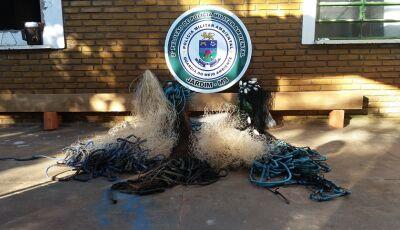 Dois mecânicos são multados por pesca em piracema com redes e tarrafas no rio Miranda em Guia Lopes