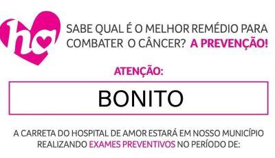 Agendamento já começou para o atendimento da Carreta do Hospital do Câncer em Bonito (MS)