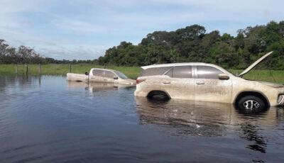 Veículos roubados são encontrados abandonados em pântano
