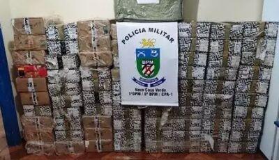 PM apreende roupas e 80 caixas de essência de narguilé contrabandeados, em MS