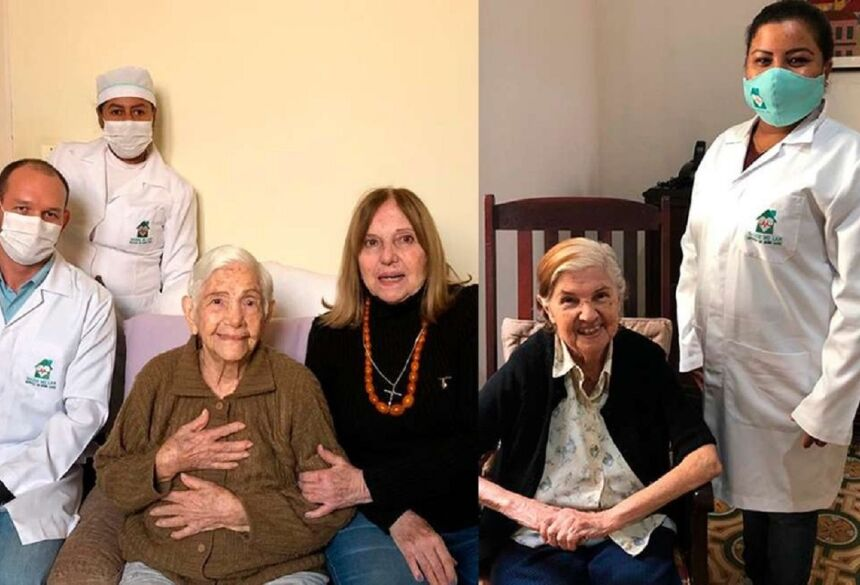 Dirce, de 100 anos (à esq.) e Myrtes, de 96 anos (à dir.), se recuperaram da Covid-19 em Corumbá (MS) —