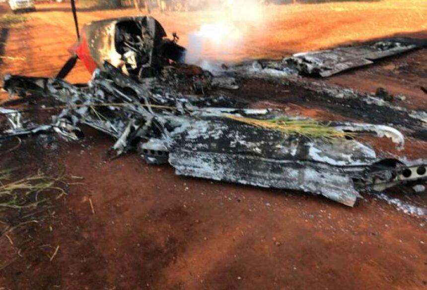 Aeronave fez pouso forçado e piloto ateou fogo depois - Crédito: Senad/Divulgação
