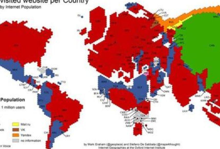 Google, em vermelho, está presente em mais de 60 países Foto: Reprodução