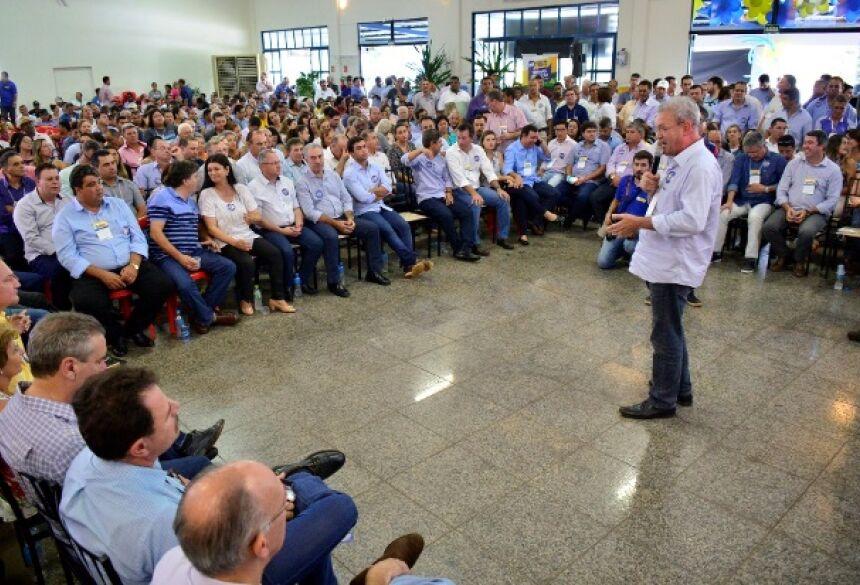 Foto: Eliel Rodrigues - Deputado federal Geraldo Resende discursa durante fórum do PSDB, que aconteceu sábado em Ivinhema.