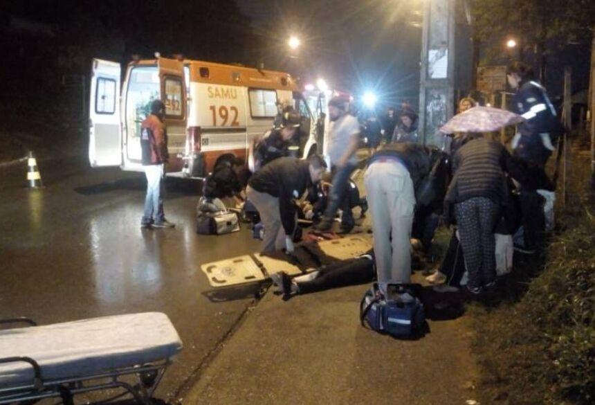 (Foto: Bruna Froehner/Rede Massa) - Motorista atropela seis pessoas e foge em Almirante Tamandaré (Foto: Bruna Froehner/Rede Massa)