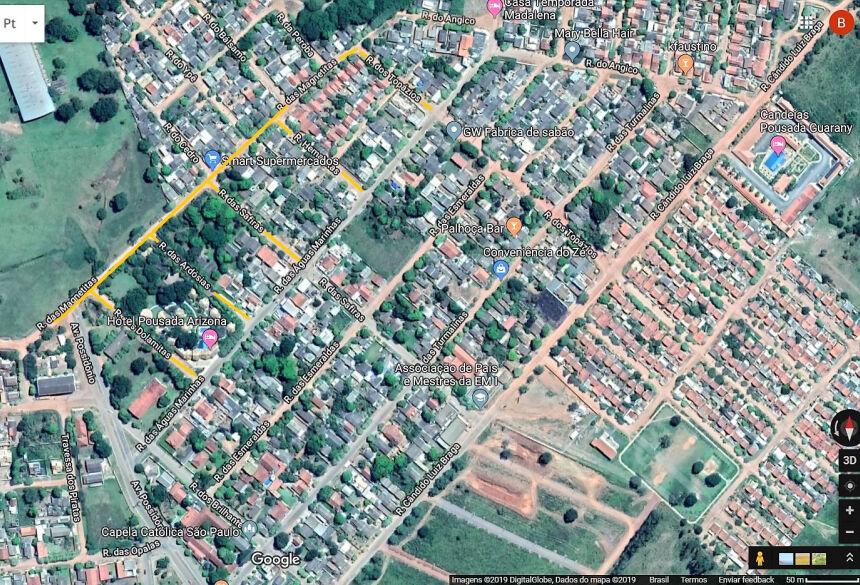 Ruas que receberão asfalto e drenagem estão marcados com a linha amarela. Arte/Google Maps/Boni