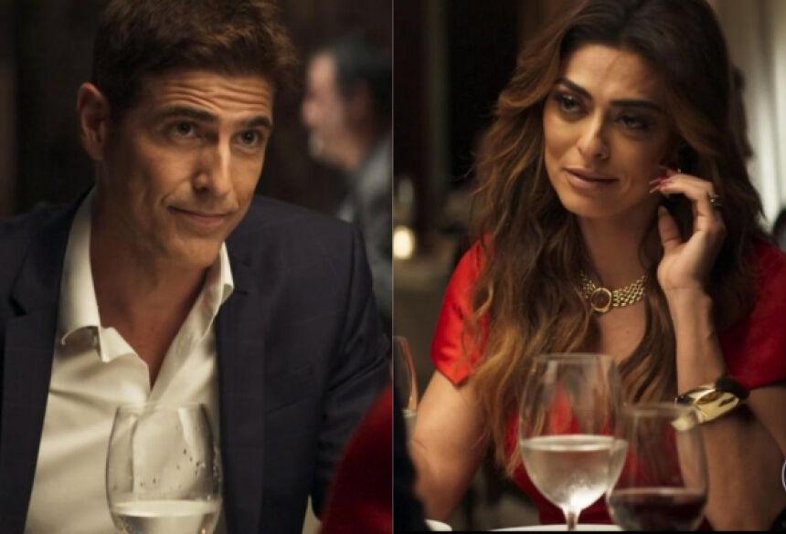 Maria da Paz (Juliana Paes) está cada vez mais rendida por Régis (Reynaldo Gianecchini) em A Dona do Pedaço da Globo (Foto: Montagem/TV Foco)