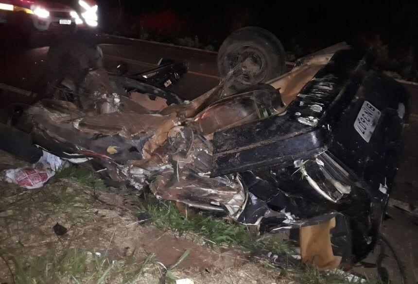 Motorista morre após atropelar anta e bater de frente com caminhão na MS-395.  Foto: Cenário MS