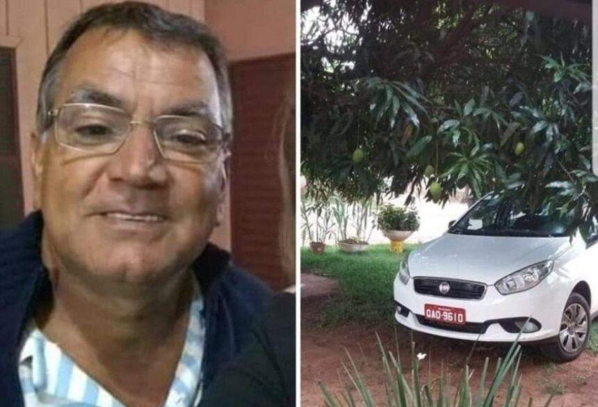 O taxista Ademar Beraldo Pereira e o seu veículo. Foto: Divulgação