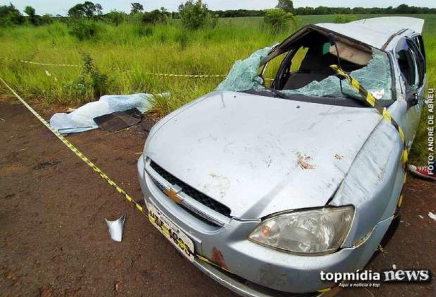 Corsa ficou destruído no acidente - Crédito: André de Abreu