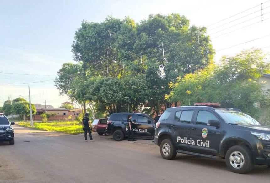 Polícia Civil de Bonito durante a operação realizada nesta manhã.
