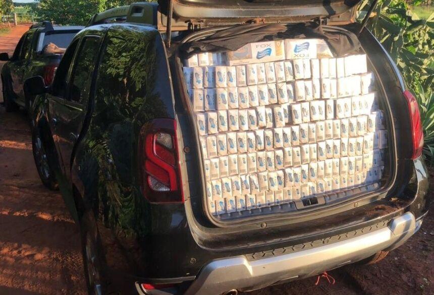 Carga de cigarros contrabandeados do Paraguai foi apreendida pelo DOF — Foto: DOF/Divulgação