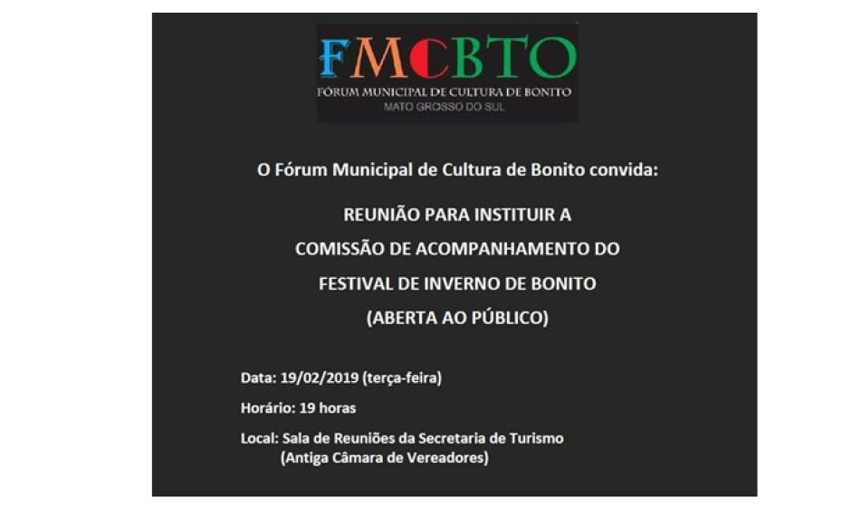 Fórum da Cultura convoca comunidade para reunião sobre 20º Festival de Inverno de Bonito